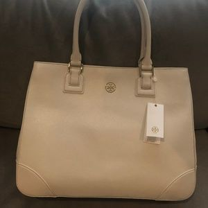 Tory Burch Ivory Saffiano Leather Tote- NEW!!